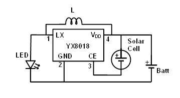"L is a 220 uH inductor. ""Batt"" is a 1.2V cell."
